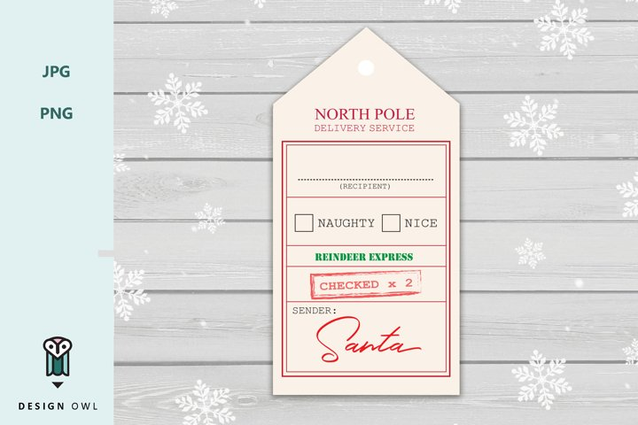 North pole delivery service - Christmas gift tag printable