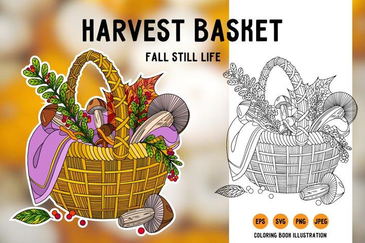 Harvest basket svg. Thanksgiving still life. Coloring page.