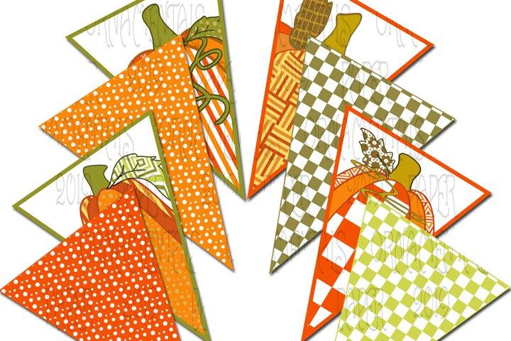 Autumn Pennant Banner, Fall Color Pumpkin Tops