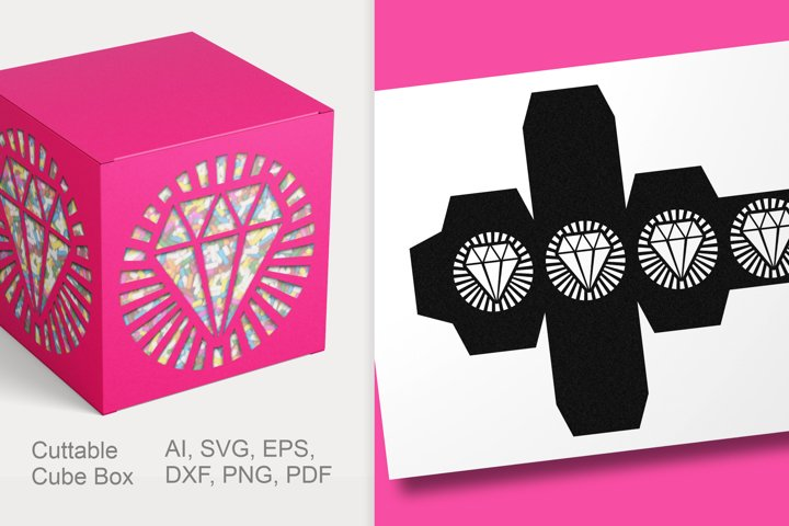Diamond Cuttable Cube Box Small Gift Packaging SVG AI PNG