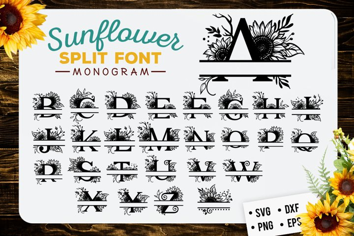 Sunflower split font monogram SVG