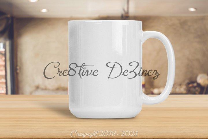 15 oz Coffee Tea Mock Up, Mug Mock-Up on Wood Table, PSD PNG