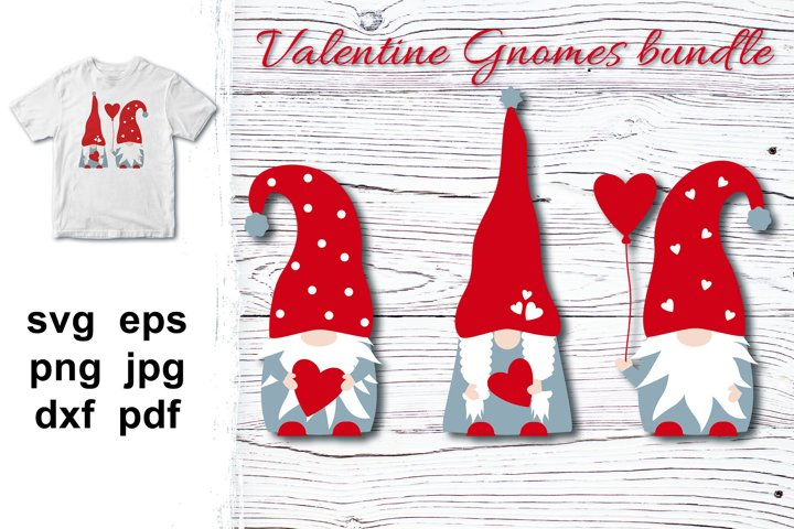Valentine Gnomes SVG, Gnomes with hearts family, bundle svg.