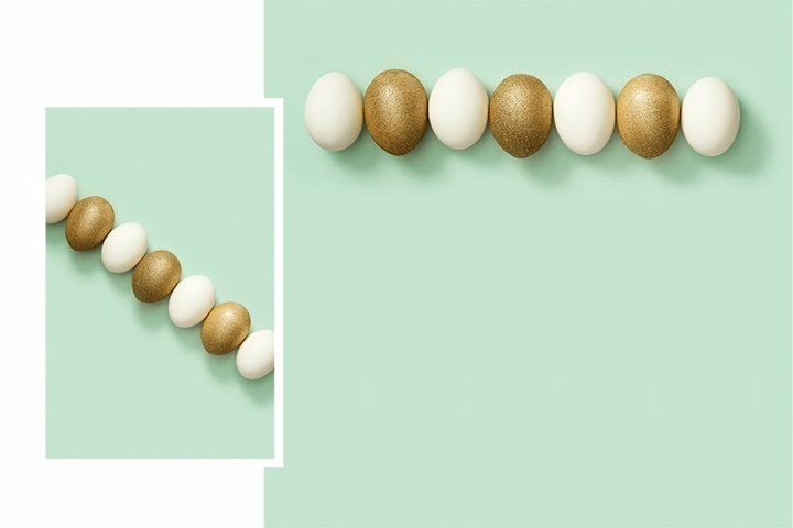 Easter eggs white and gold colored