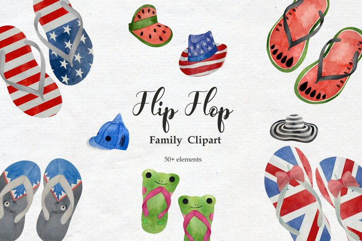 Watercolor Flip Flop Clipart