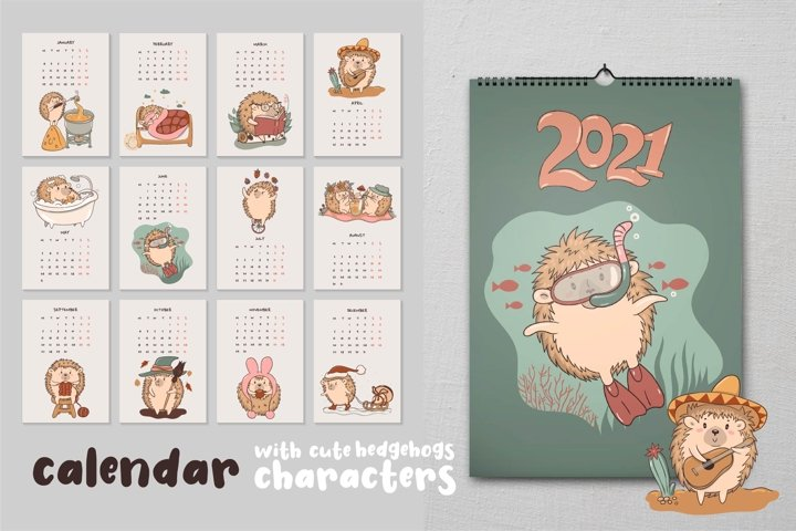 Calendar 2021 and collection of cute hedgehogs characters