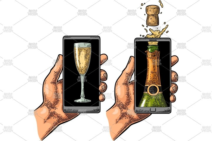 Male hand hold smartphone bottle champagne glasses engraving