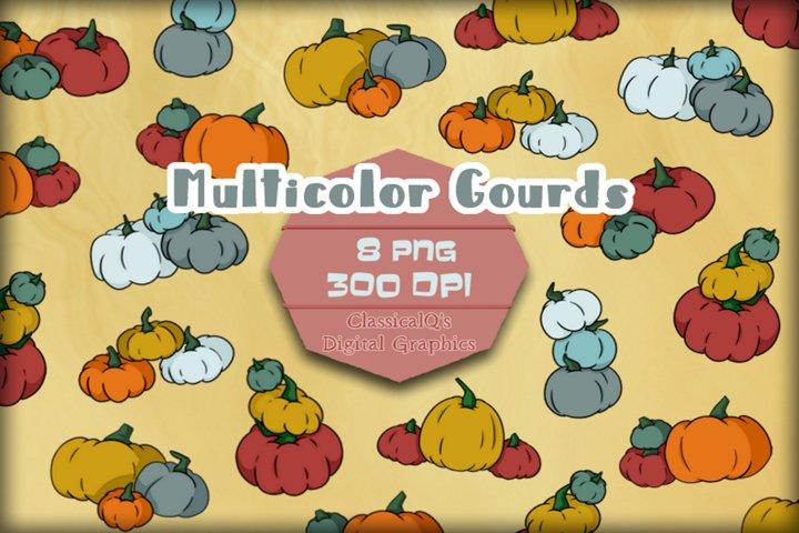 Multicolor Gourds Clip Art