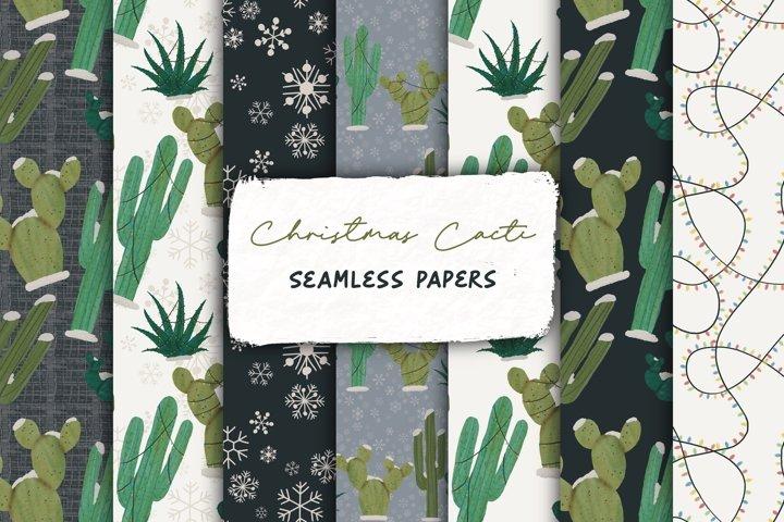 Watercolor Christmas Cactus Seamless Pattern - Digital Paper