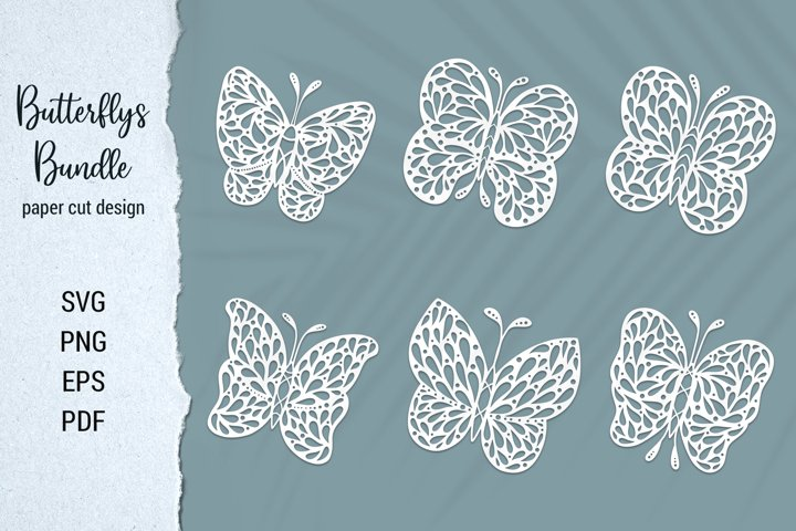 Butterfly Bundel paper cut design for Cricut and Silhouette