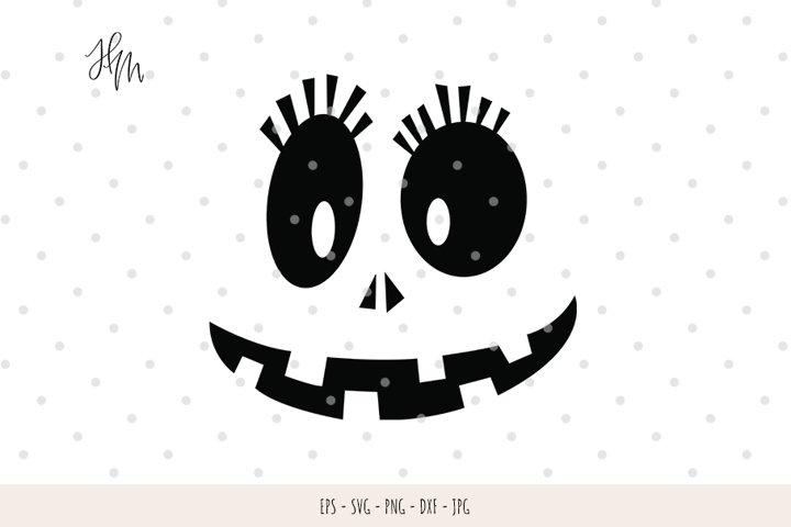 Cute Pumpkin face cut file SVG DXF EPS PNG JPG