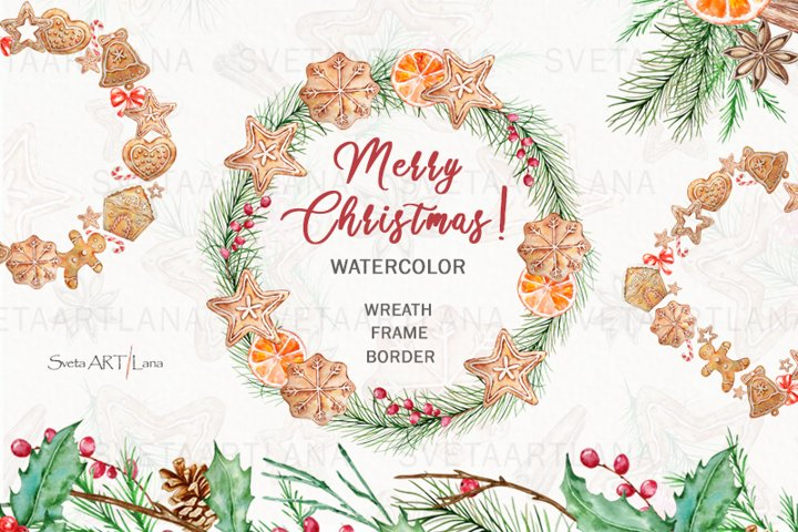 Christmas Gingerbread Wreath Clipart