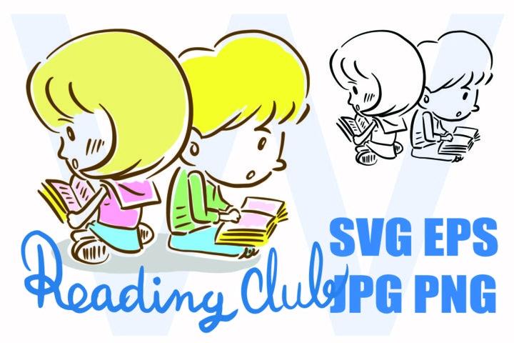 Cute Boy and Girl Reading Club - SVG EPS JPG PNG