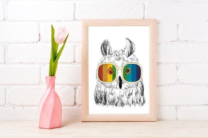 Fashion Owl Wall Art Printable - Instant Digital Download