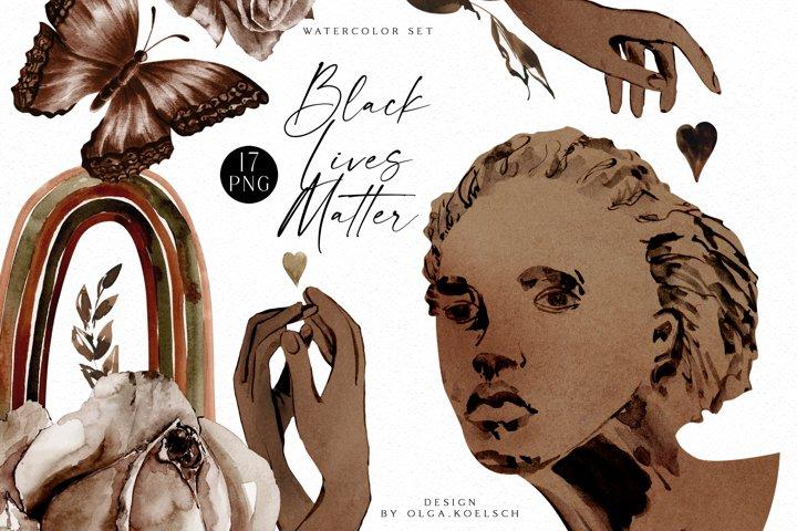 Black lives matter clipart, Watercolor brown hands, heart