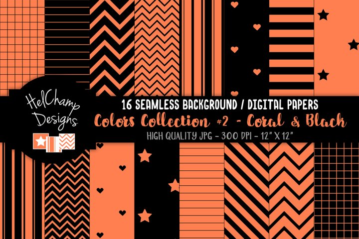 16 seamless Digital Papers - Coral and Black- HC162