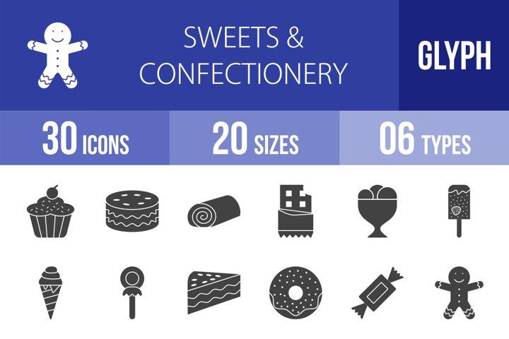 30 Sweets & Confectionery Glyph Icons Season II