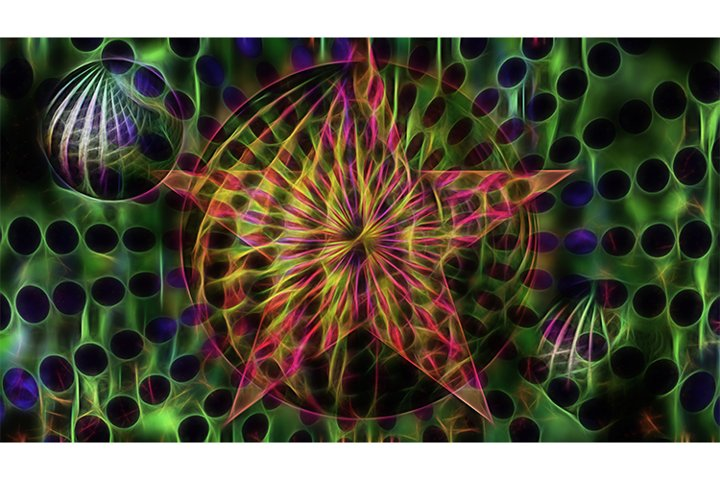 Abstract neon fractal futuristic background .