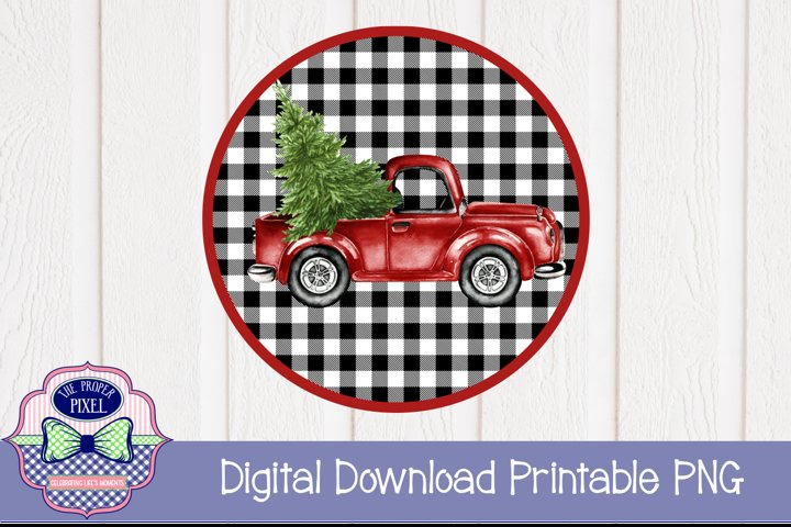 Red Vintage Truck with Christmas Tree Sublimation Printable