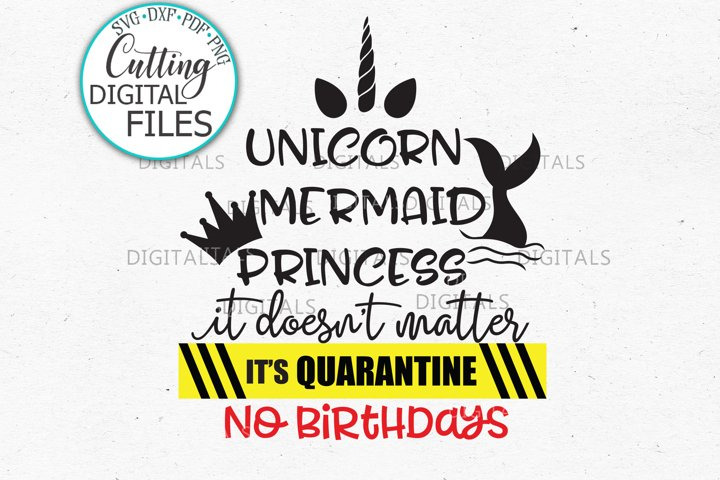 Unicorn Mermaid Princess Quarantine Birthday svg dxf cutting