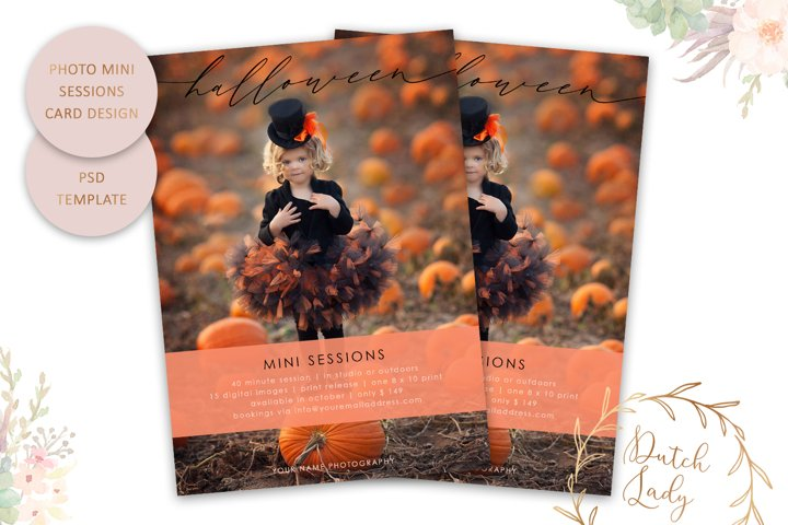 PSD Halloween Photo Session Card Template - Design #67