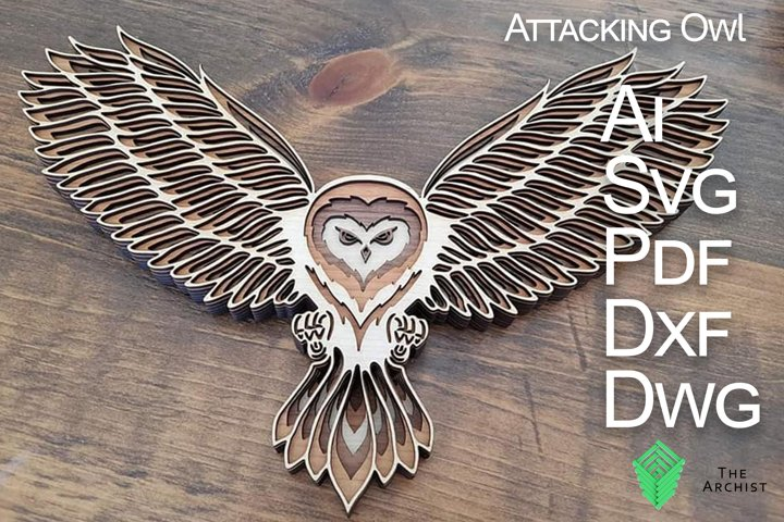 Multilayered svg, Attacking Owl, Owl art SVG