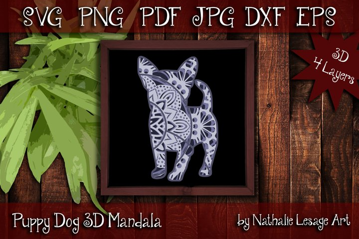 Puppy Dog 3D SVG Mandala 4 Layers Cut File Baby Animal Pet