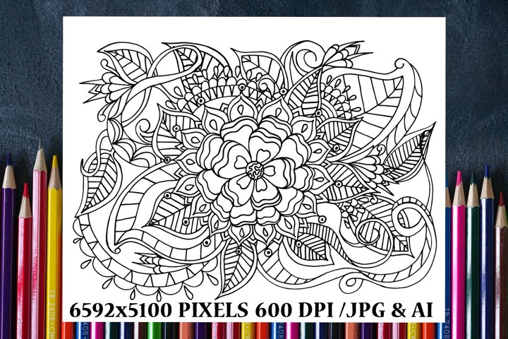 Flower Garden Coloring Book Page/Poster