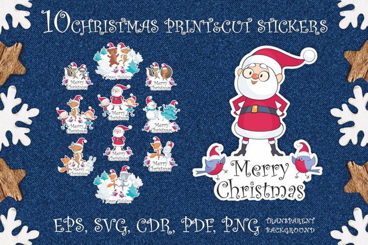 Merry Christmas. Print and cut stickers