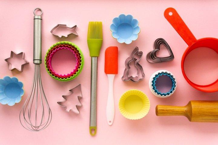 Flat lay of various baking utensils