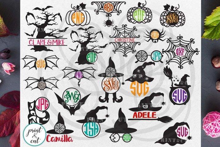Halloween monograms big bundle papercutting svg machine cut