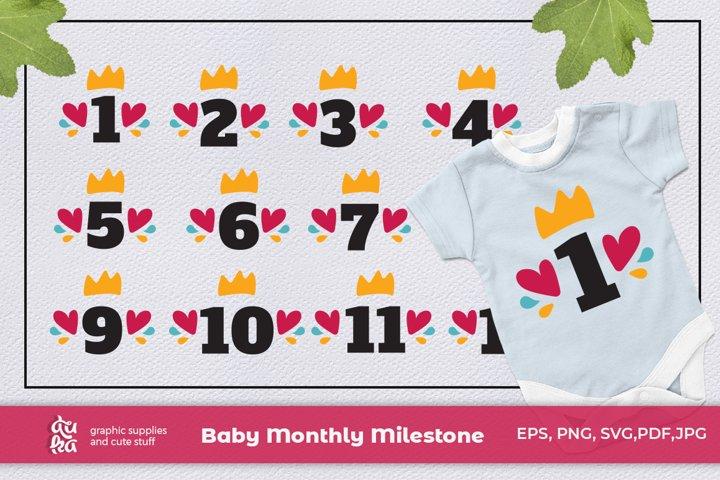 Baby Monthly Milestone SVG | Bundle