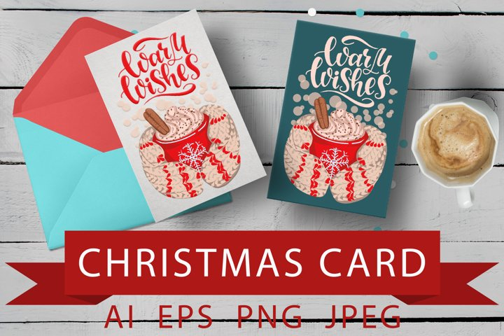 Christmas illustration for greeting cards and sublimation