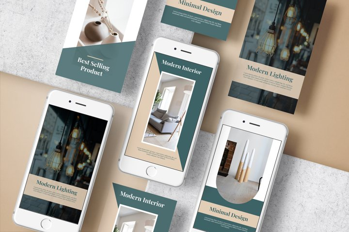 Stories template social media for furniture and interior