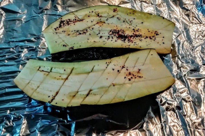 Eggplant on foil for baking