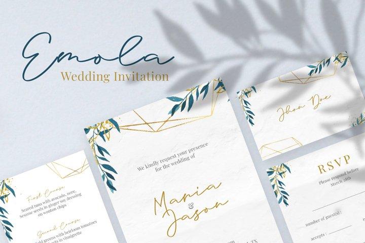 Emola Watercolor Wedding Invitation
