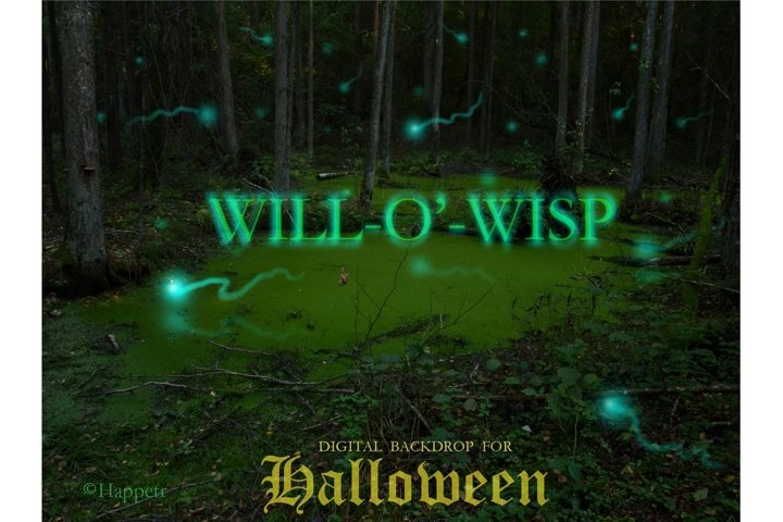 Halloween will-o-wisp digital background Mystical swamp
