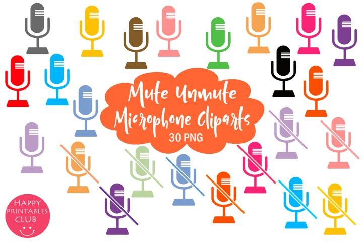Mute Unmute Microphone Cliparts- Microphone Clipart Set