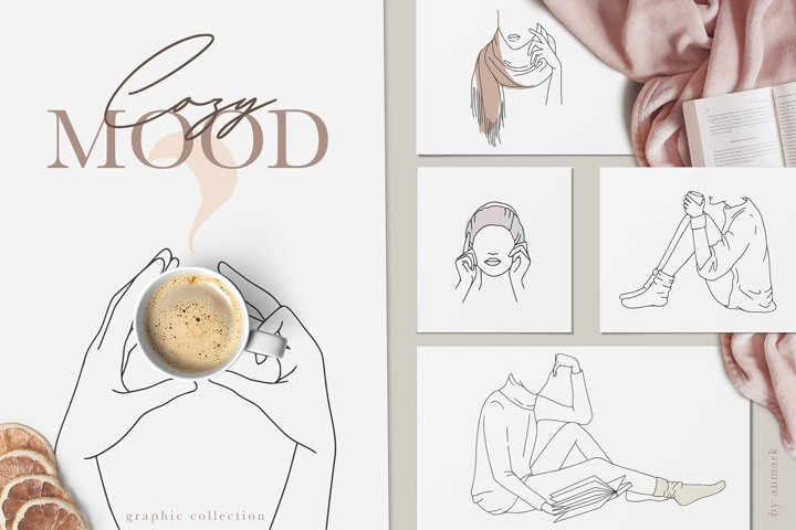 Cozy Mood. Line Art Collection