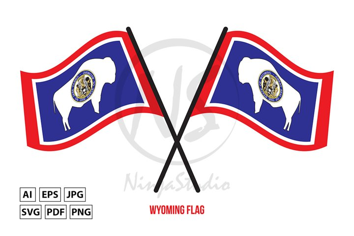 Two Crossed Waving Wyoming Flag On Isolated White Background