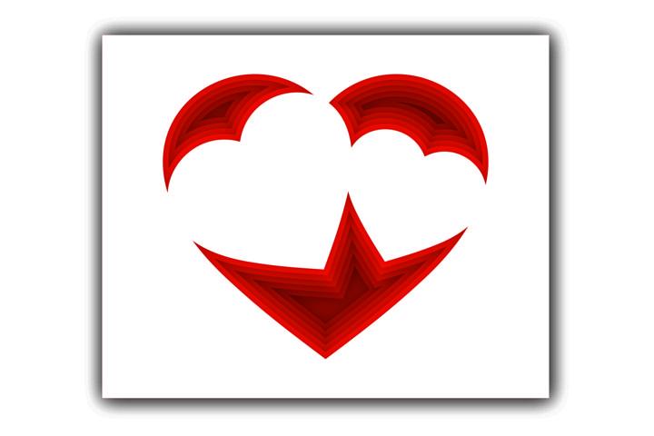 Layered Heart SVG, Cut file Mandala, 3D Heart