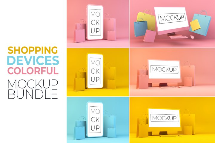 Shopping Devices Colorful Mockup Bundle