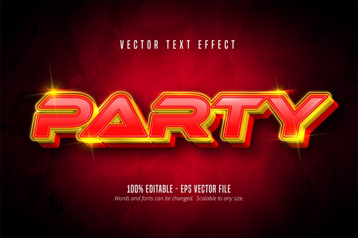 Party text, neon style editable text effect