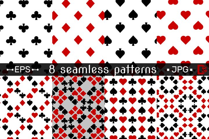 8 SEAMLESS patterns with Playing card suits clipart. Vector