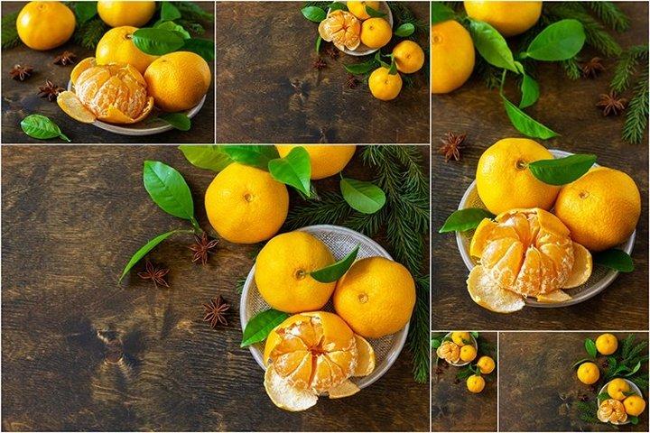 Fresh juicy fruits clementine mandarins bundle 6 stock photo