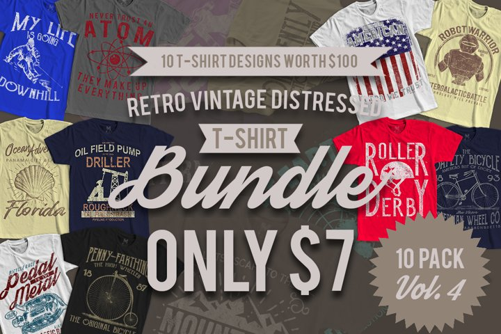 Retro Vintage T-Shirt Designs 10 Pack Vol. 4