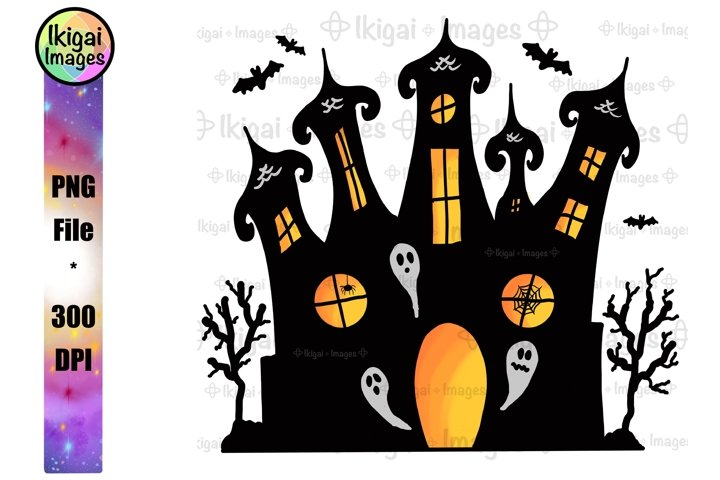 Haunted Mansion PNG, Halloween Spooky House Sublimation