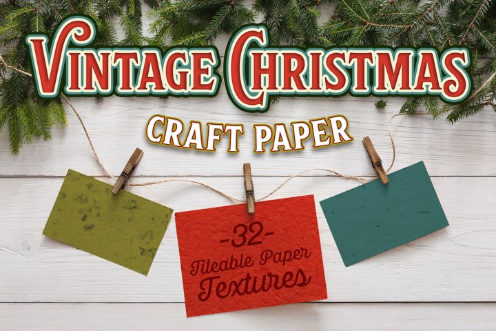 Vintage Christmas Craft Paper - 32 Seamless Textures