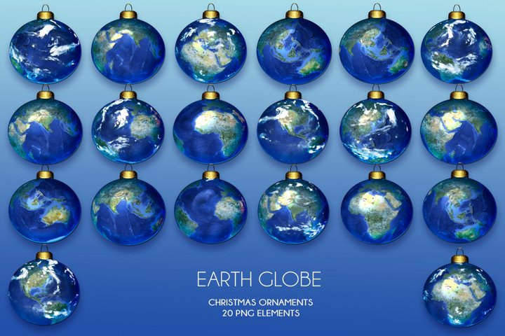 20 Earth Globe Christmas Ornaments - PNG