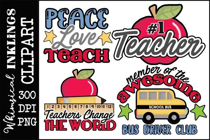 Peace Love Teach Clipart-Sublimation Bundle